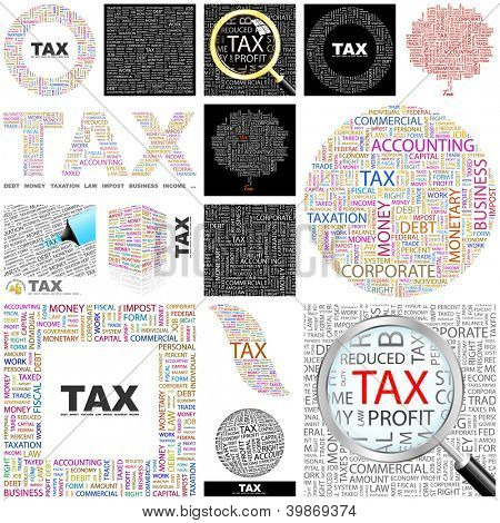 TAX. Word collage. Vector illustration.