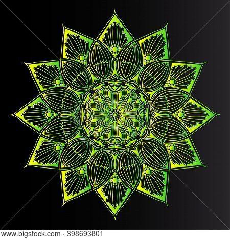 Greenish Geometric Heart Shape Natural Line Art Mandala Design And Repeat Islamic Moroccan Pattern B