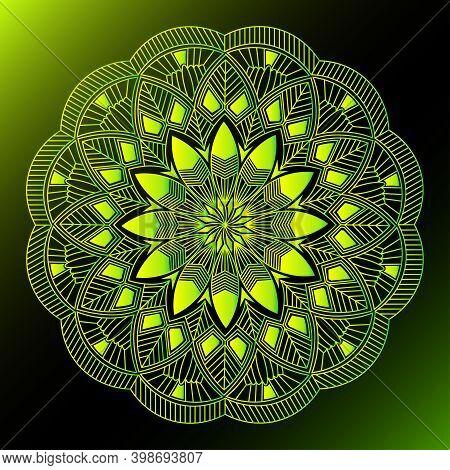 Yellow Greenish Line Art Leaf Mandala Design And Repeat Pattern Background