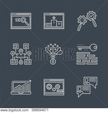 Seo Line Icons Set. Seo Related Vector Line Icon. Isolated On Black Background. Social Chanels, Keyw