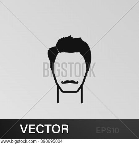 Masculine Hairstyle And Mustache Icon.element Hairstyles Icon. Premium Quality Graphic Design. Signs