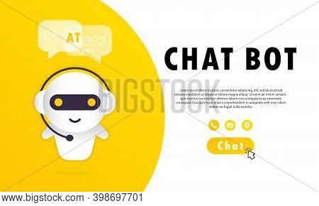 Chat Bot Banner. Online Assistant Bot Landing Page Template. Dialog, Message. Technical Support. For