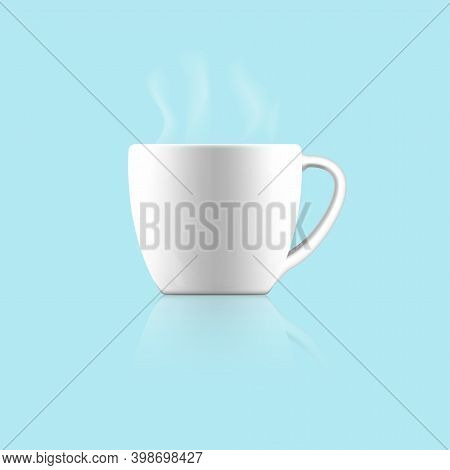 Ceramic Tea Or Coffee Cup.white Tea Or Coffee Cup Isolated On A Blue Background.vector Illustration