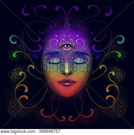 Illustration Of A Portrait Of A Girl On A Dark Background, With A Third Eye. Meditation In A State O