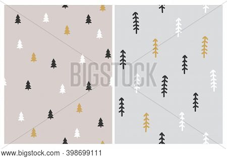 Winter Landscape Seamless Vector Patterns. Christmas Holidays Design With White, Black And Gold Pine