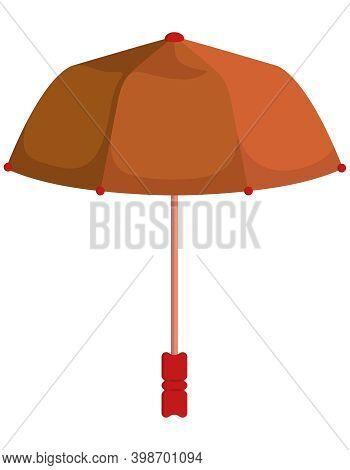 Brown Unfolded Umbrella. Beautiful Accessory In Cartoon Style.