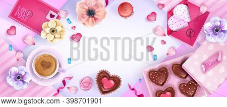 Vector Valentine's Day Holiday Top View Background With Hearts, Anemones, Flowers, Pink Envelope. Ro