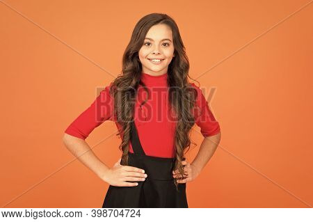 Welcome School In Style. Happy Child Smile Brown Background. School Uniform Style. Back To School. F