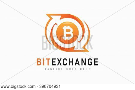 Bitcoin Exchange Logo Design. Abstract Arrow And Bitcoin Symbol Design Usable For Business, Communit