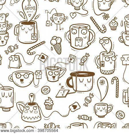 Seamless Pattern With Cute Cups And Sweets On White Background. Wallpaper With Mugs And Tea Sachets.