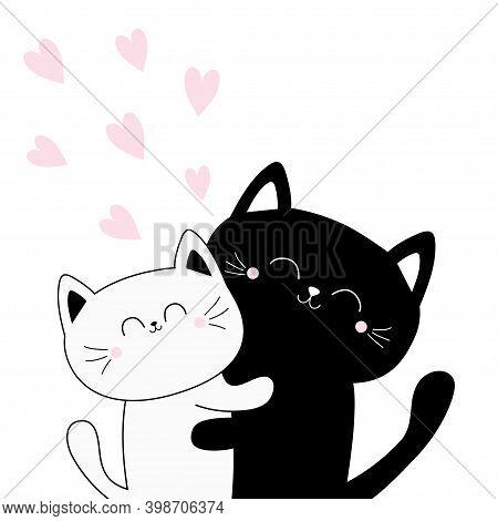 Cat Hugging Couple Family. Heart Set. Hug, Embrace, Cuddle. Black White Contour Kitty Kitten. Cute F