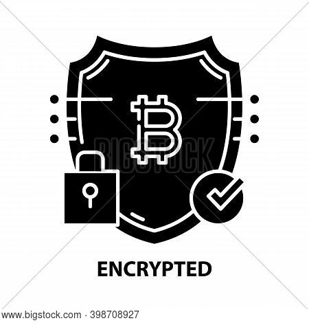 Encrypted Icon, Black Vector Sign With Editable Strokes, Concept Illustration