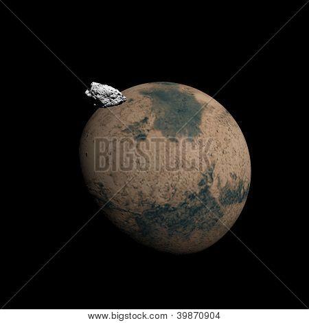 Mars Planet And Deimos Satellite - 3D Render
