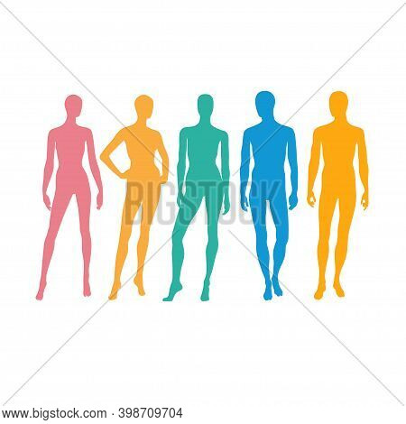 Standing Male And Female Figures Silhouette Vector Color ,man And Woman Silhouettes