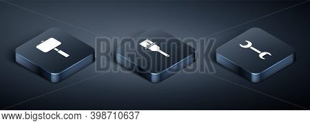 Set Isometric Sledgehammer, Wrench Spanner And Paint Brush Icon. Vector