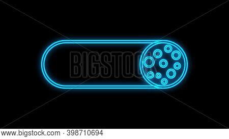 Sausage On A Black Background, Vector Illustration, Neon. Meat Sausage With Bacon. Neon Blue Sausage