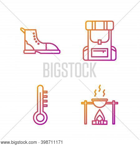 Set Line Campfire And Pot, Meteorology Thermometer, Hiking Boot And Hiking Backpack. Gradient Color