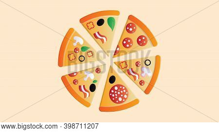 Pizza With Toppings On A Pink Background, Vector Illustration. A Lot Of Pizza Slice With Different T