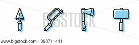 Set Line Wooden Axe, Trowel, Hacksaw And Sledgehammer Icon. Vector