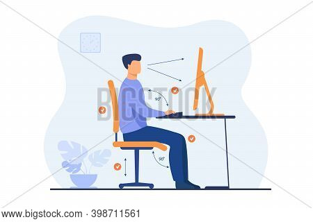Instruction For Correct Pose During Office Work Flat Vector Illustration. Cartoon Worker Sitting At