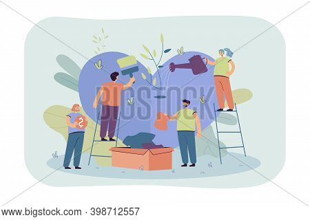 Stylized Volunteer Team Giving Care And Sharing Hope Isolated Flat Vector Illustration. Cartoon Grou