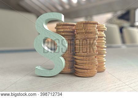 3d illustration showing coins and a paragraph symbolizing the law. Conceptual picture - expensive legal aid, bribed court and other issues related to money and law