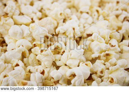 Fresh Popcorn Background. Popcorn Texture. Corn Snacks Close Up. Selective Focus