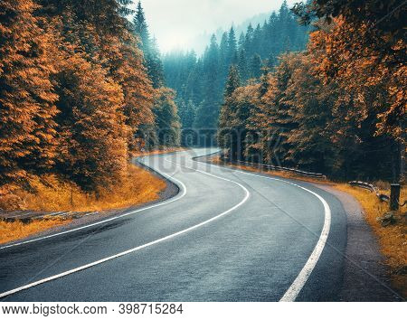Road In Autumn Foggy Forest In Rainy Day. Beautiful Mountain Roadway, Trees With Orange Foliage In F