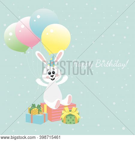 Vector Image Of A Little Hare With Balloons. Happy Birthday.