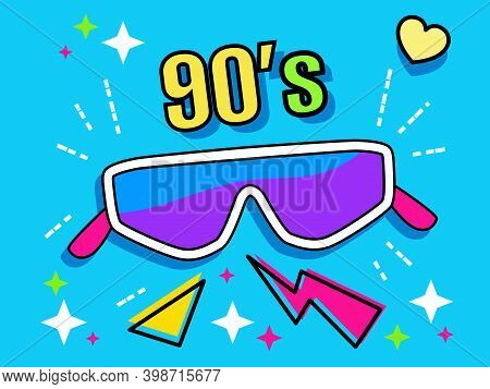 Neon Retro Ski Glasses Collection 90s. Women's And Men's Accessory From 80s. Optics, Lens, Vintage,