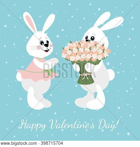 Vector Image Of Two Cute Hares. Congratulations On Valentine\'s Day. Template For Cards, Flyers, Ban