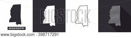 State Of Mississippi. Map Of Mississippi. United States Of America Mississippi. State Maps. Vector I