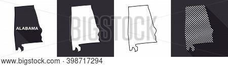 State Of Alabama. Map Of Alabama. United States Of America Alabama. State Maps. Vector Illustration