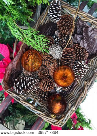 Christmas decoration background with pine leaves, pine cones or conifer cone and red holly balls. Christmas theme wallpaper in top view