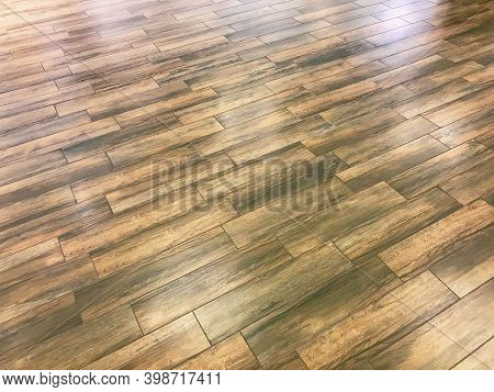 Rustic Barn Wood Wall Wide Horizontal Texture With Tiled Wooden Decorative Planking. Vintage Exterio