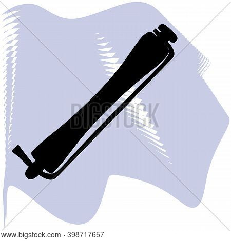 Hair Curlers For Permanent Hairstyle Vector, Barber, Salon, Hair, Black Curlers On Lilac Spot Icon O
