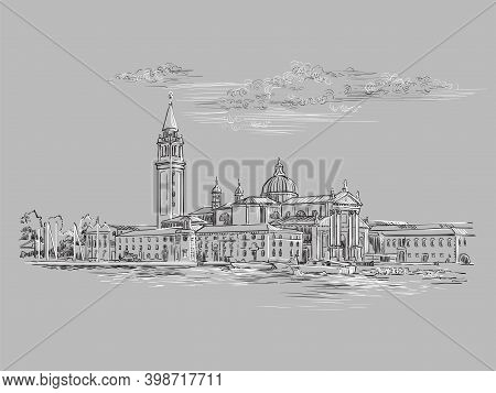 Venice Hand Drawing Vector Illustration Panorama Gray