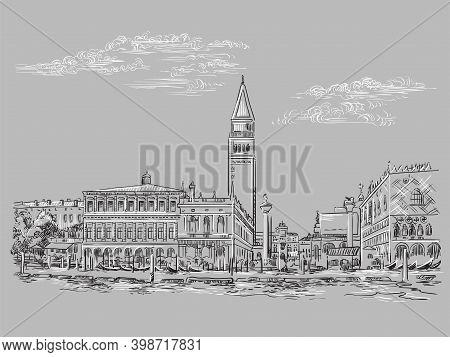 Venice Drawing Vector Illustration St Mark Square Gray