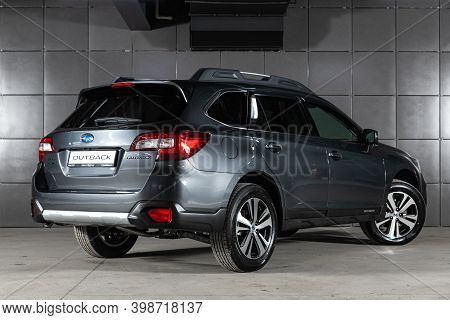 Novosibirsk, Russia - December 07, 2020:  New Gray Subaru Outback ,back  View.  Photography Of A Mod