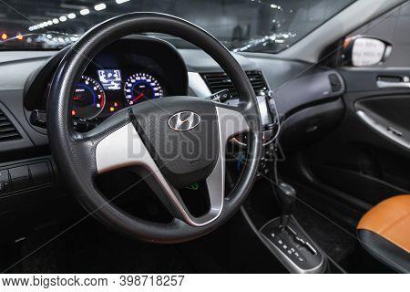 Novosibirsk, Russia - December 07, 2020: Hyundai Solaris , Auto Interior: Steering Wheel With  Logo