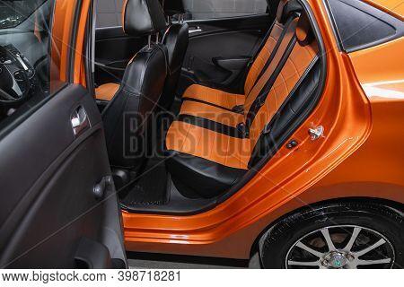 Novosibirsk, Russia - December 07, 2020: Hyundai Solaris , Rear Seat For Passengers In Black Textile