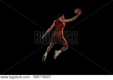 Flying. Young Purposeful African-amrican Basketball Player Training, Practicing In Action, Motion Is