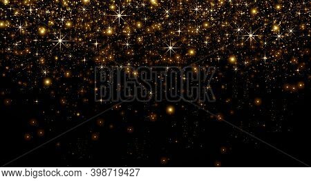 Gold Dust And Bokeh Stars On A Black Background, Christmas And Happy Holiday Concept