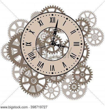 Clockwork Gear Mechanism. Vintage Wall Clock Roman Number. Time Symbol. Vector Illustration.
