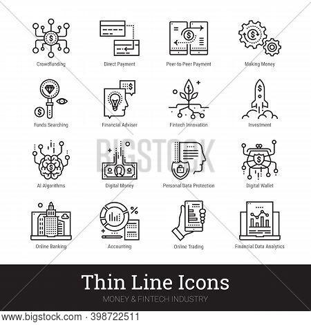 Fintech Industry, Money, Finance Thin Line Icon Set. Modern Vector Logo For Web Service, Mobile Appl