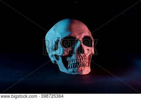 Human Skull On A Black Background. Colored Illumination Of The Skull. Skull Turned To The Side. Blac