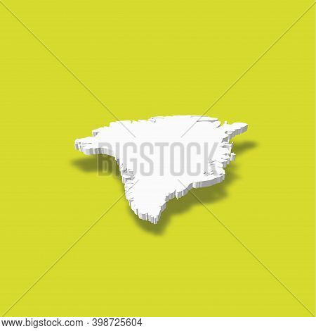 Greenland - White 3d Silhouette Map Of Country Area With Dropped Shadow On Green Background. Simple