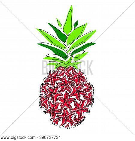 Pineapple. Digital Vector Detailed Lines Art Pineapple Fruit Handmade. Pineapple Of Sea Stars.