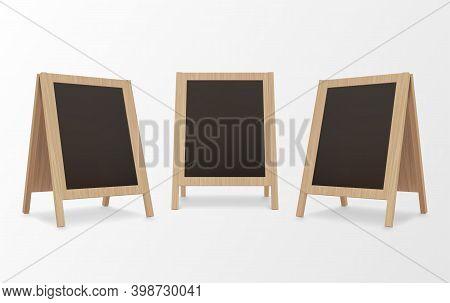 Wooden Menu Chalkboards Realistic Set. Bar, Cafe, Restaurant Outdoor, Street Boards.