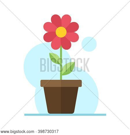 Red Flower In Pot Flat Illustration. Color Vector Icon. Red Flower With Green Leaves In Pot Vector I
